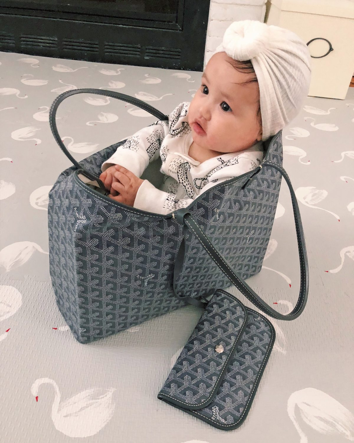 baby in a goyard st louis diaper bag