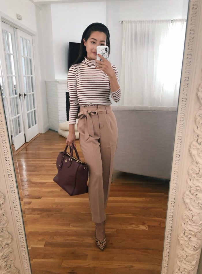 camel tie waist pants petite workwear outfit ideas