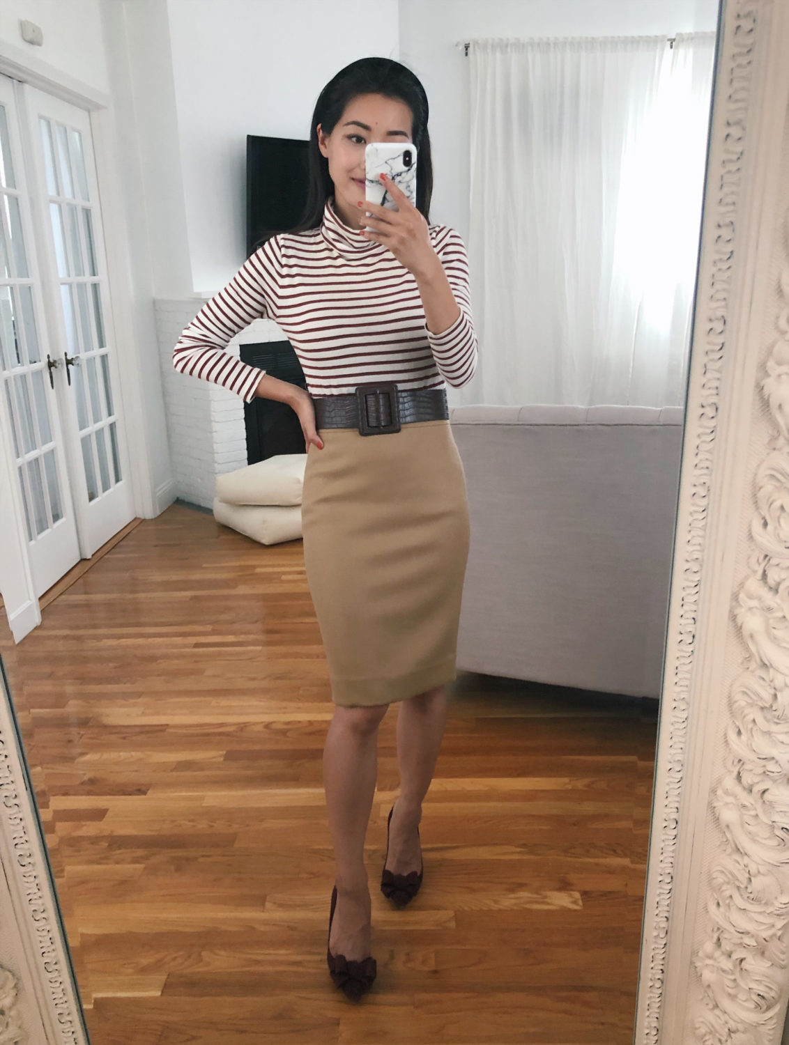j.crew camel wool pencil skirt petites outfit