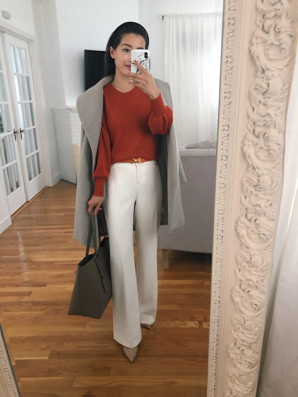 how to style white pants for fall work outfits