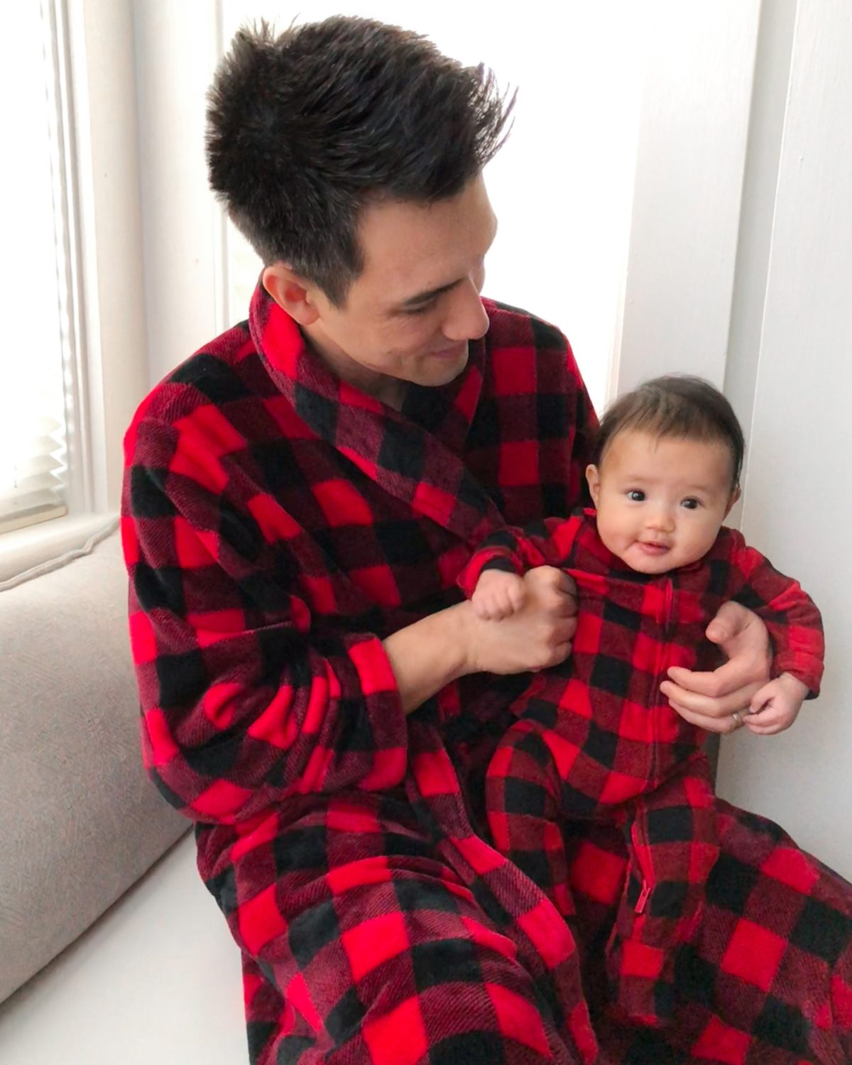 baby buffalo plaid holiday christmas onesie