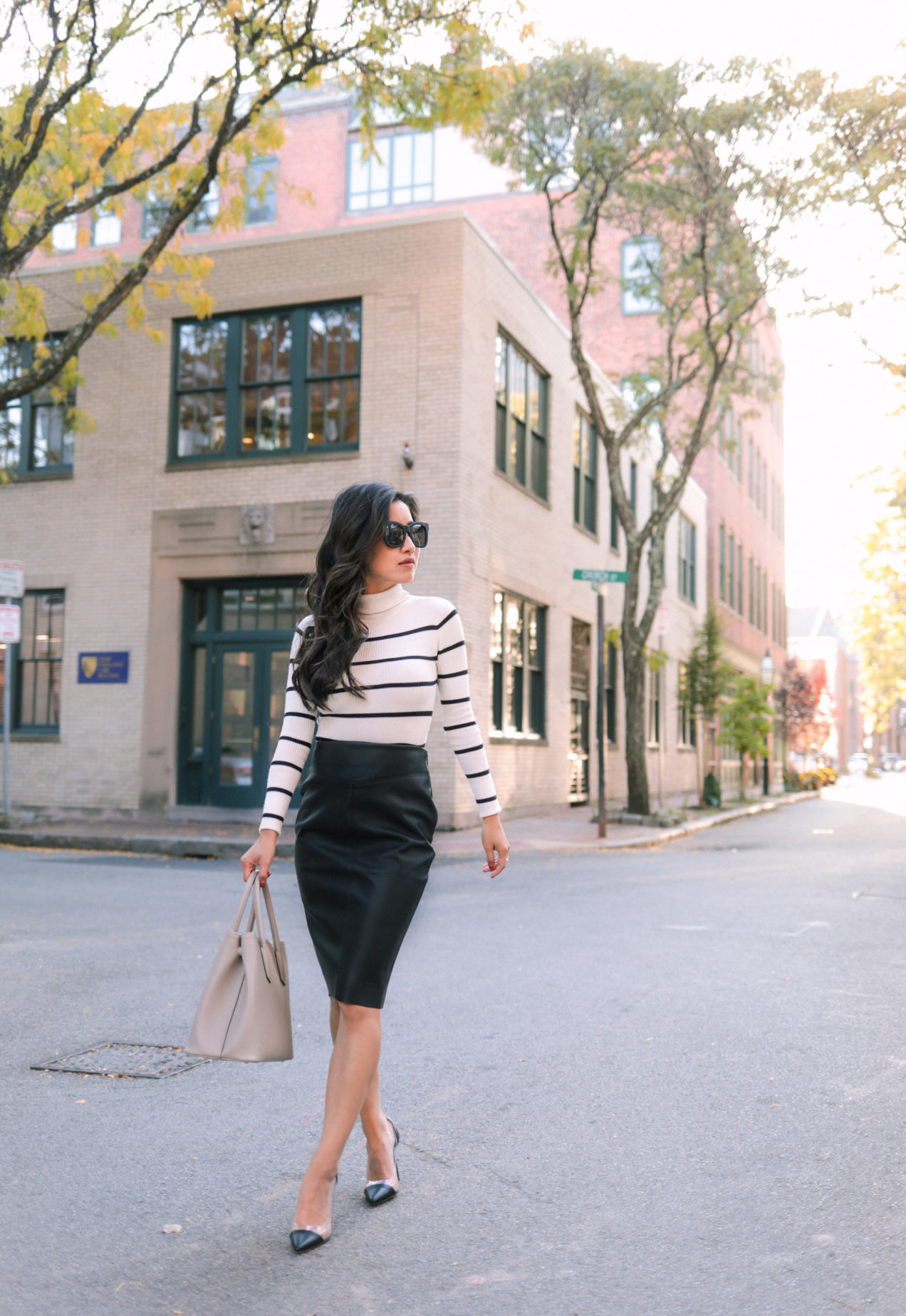 black leather pencil skirt outfit from express petites