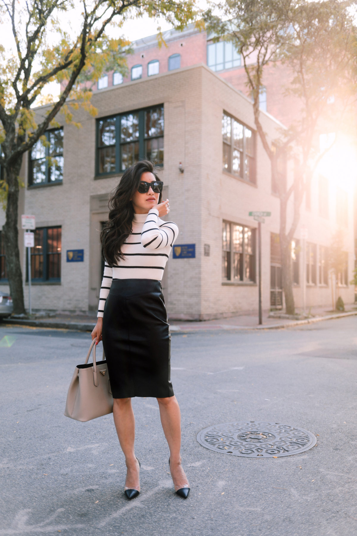 how to style a faux leather pencil skirt