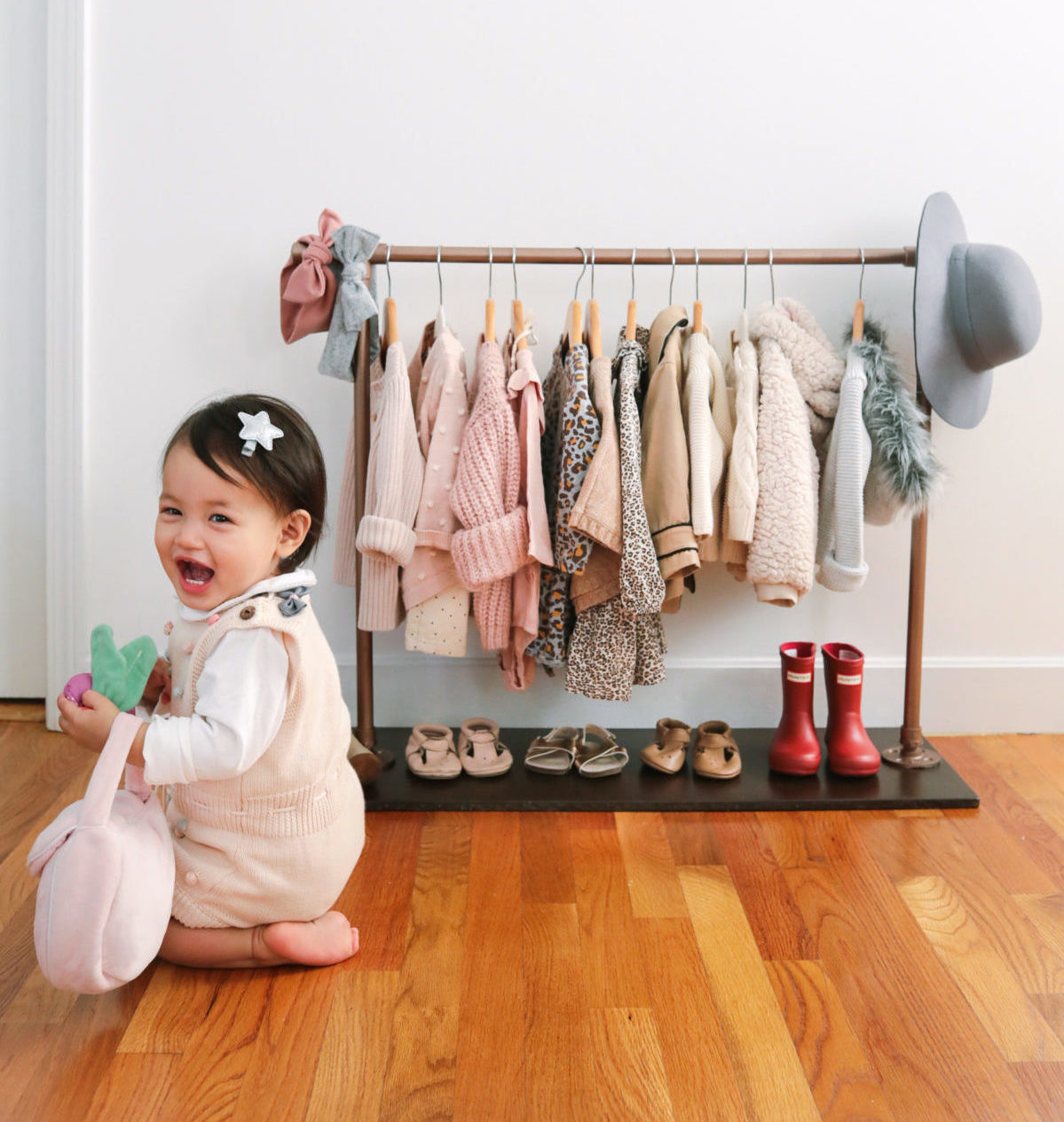baby girl toddler diy clothing rack