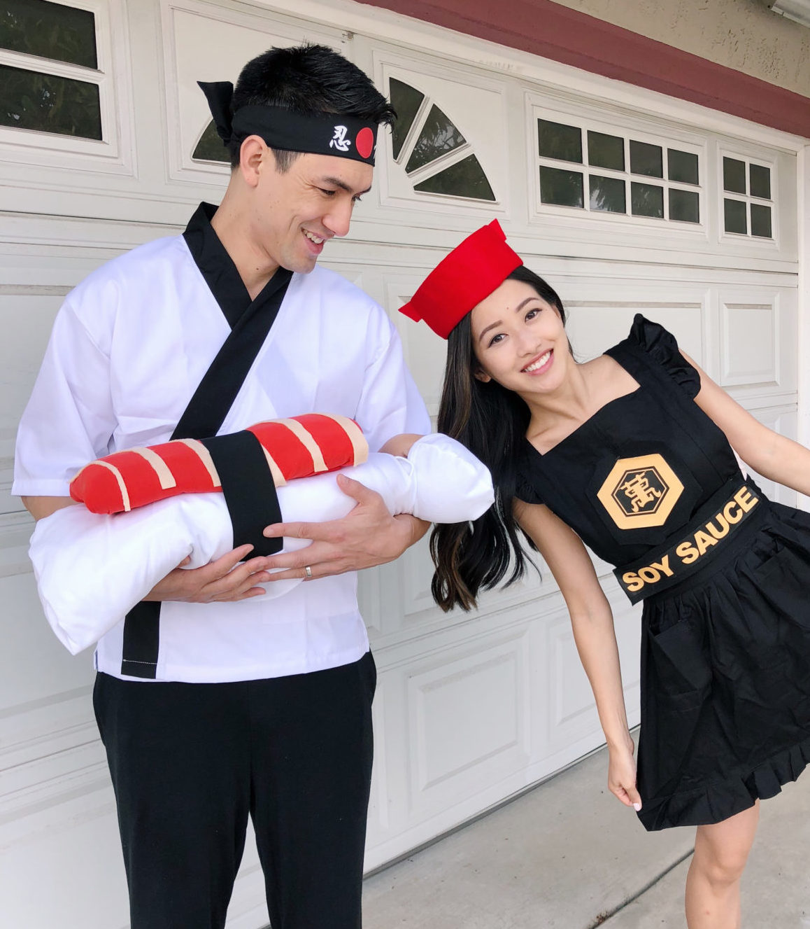 DIY couple halloween costume sushi chef soy sauce