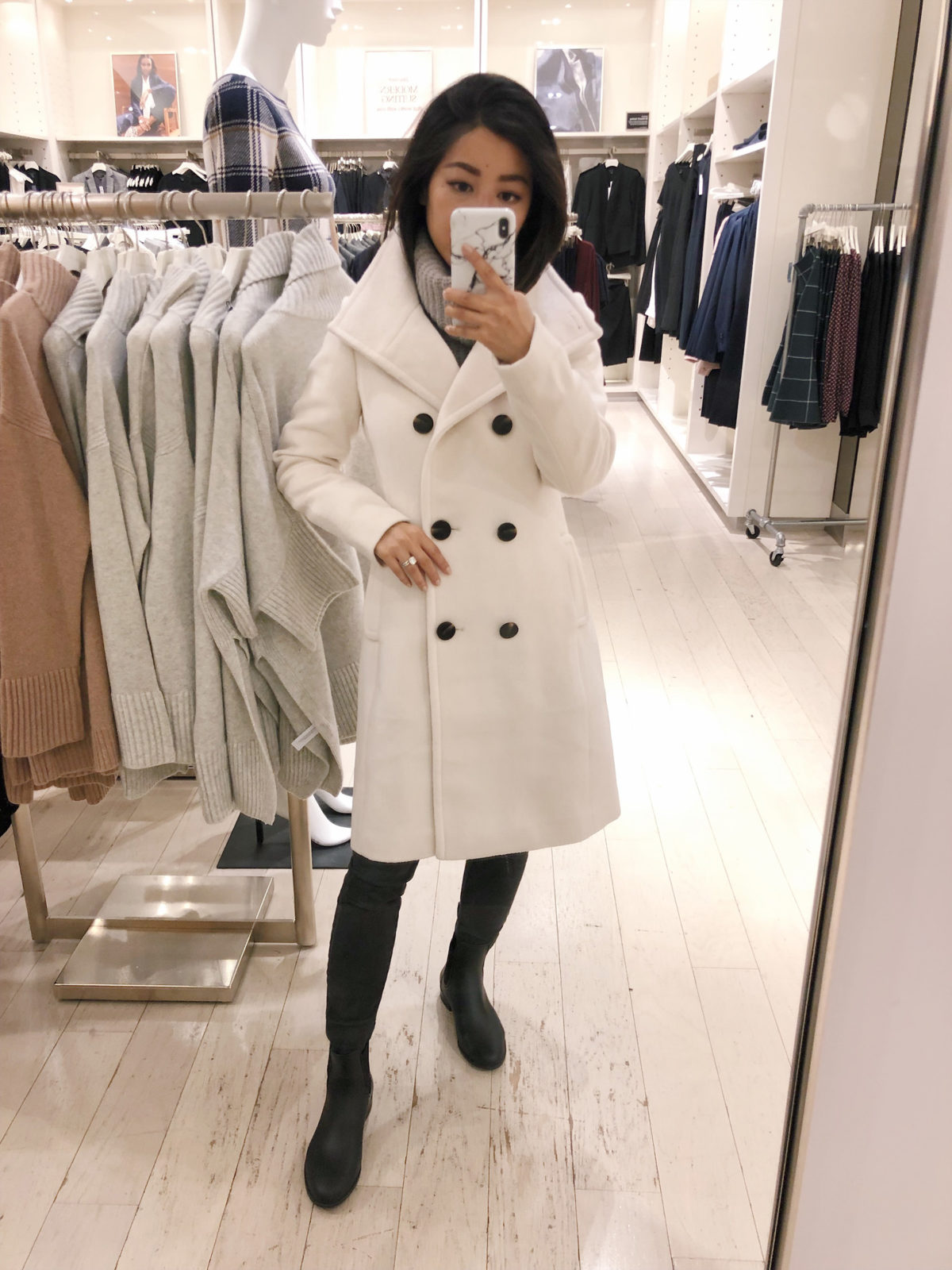 winter white wool coat by ann taylor petite