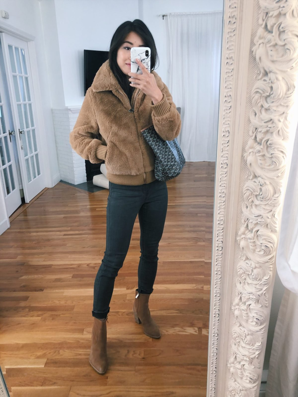 petite camel faux fur bomber jacket banana republic