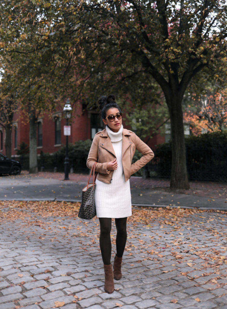turtleneck sweater dress - petite fall winter outfit