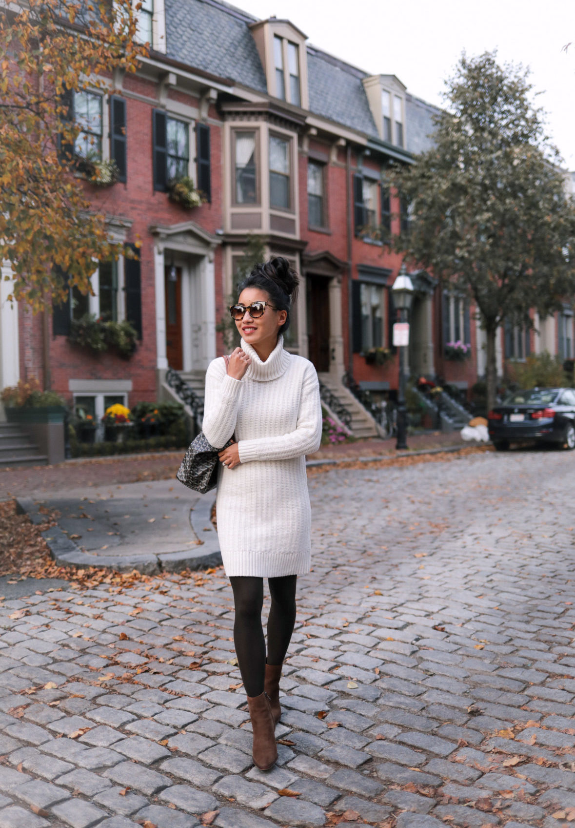 how to style a cozy turtleneck sweater dress