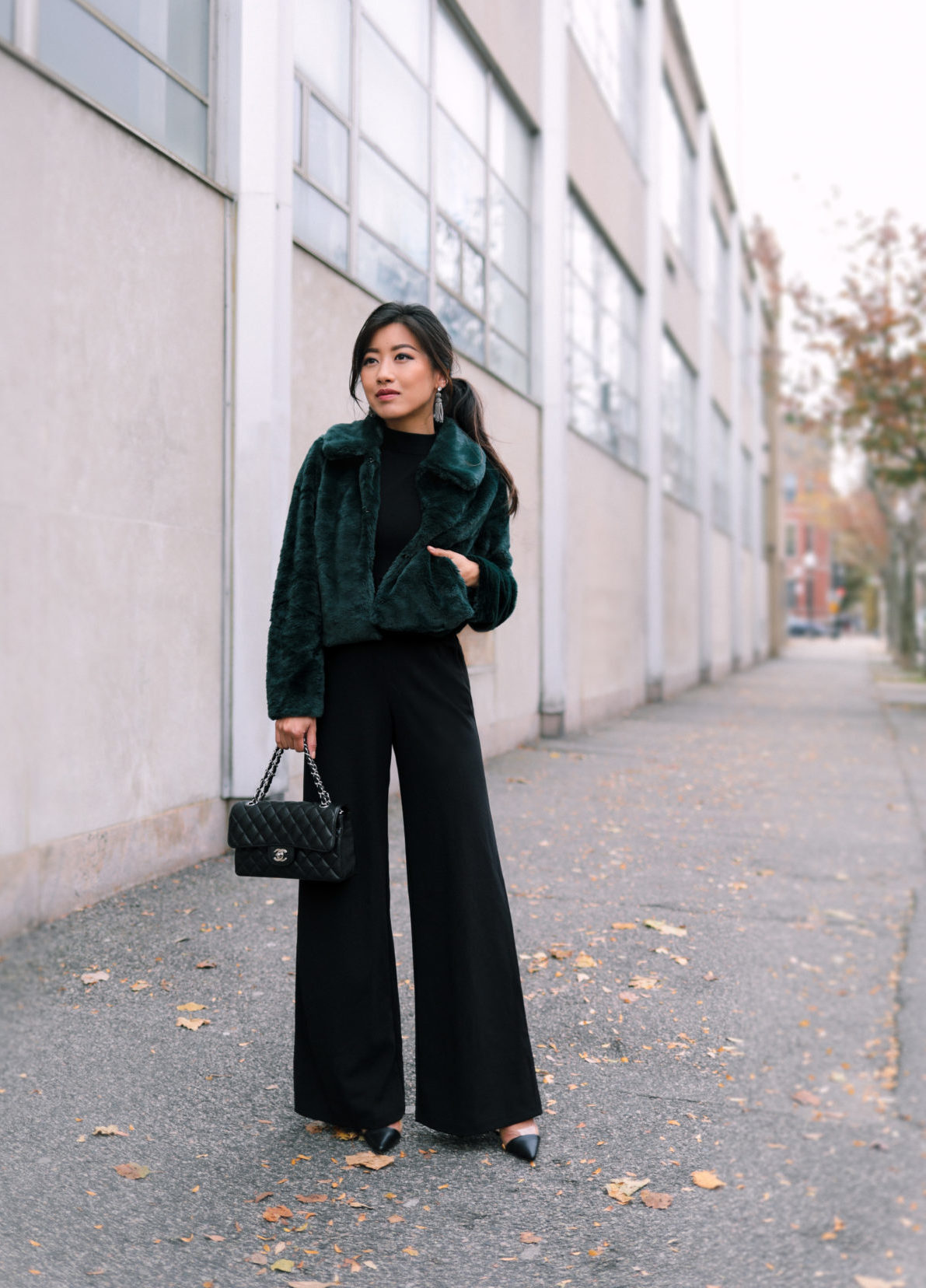 holiday party outfit petite black jumpsuit