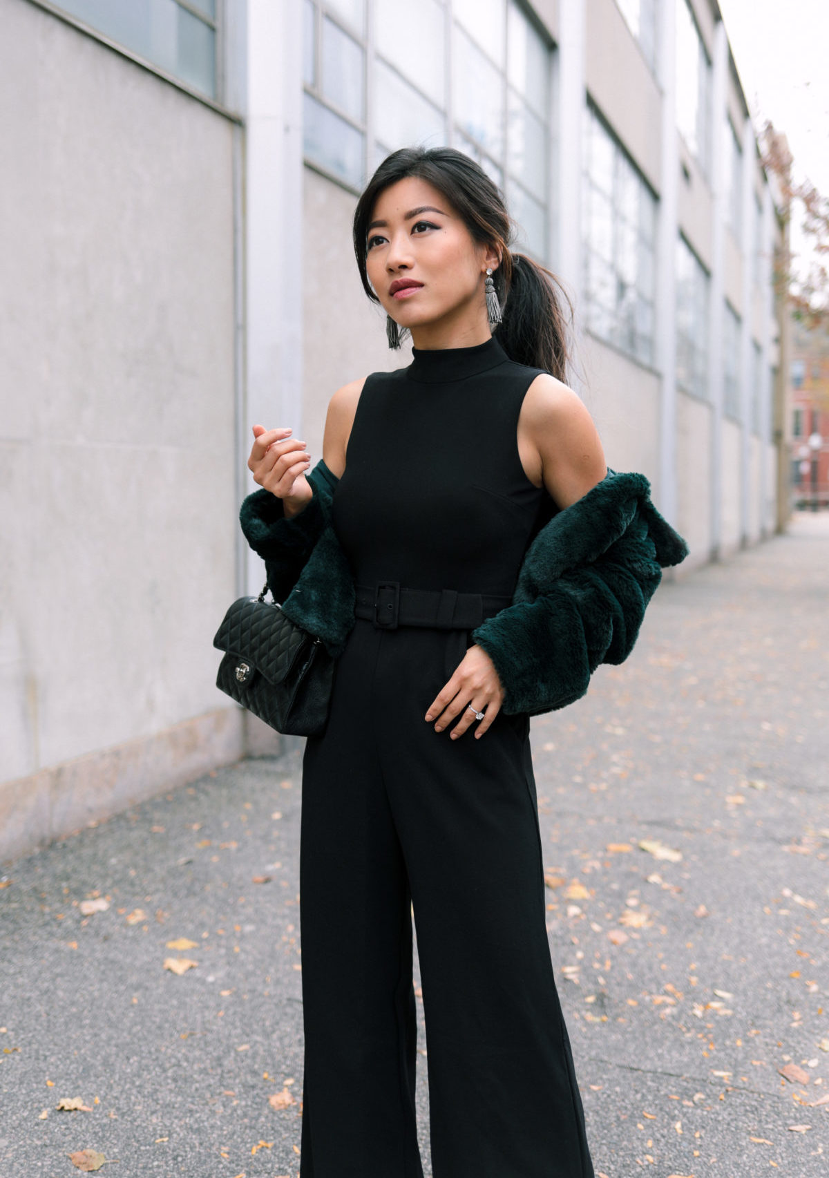 green petite faux fur jacket cropped