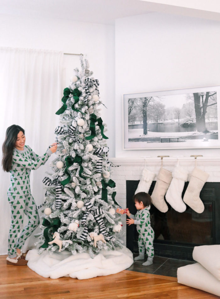 flocked king of christmas tree hanna andersson family holiday pajamas