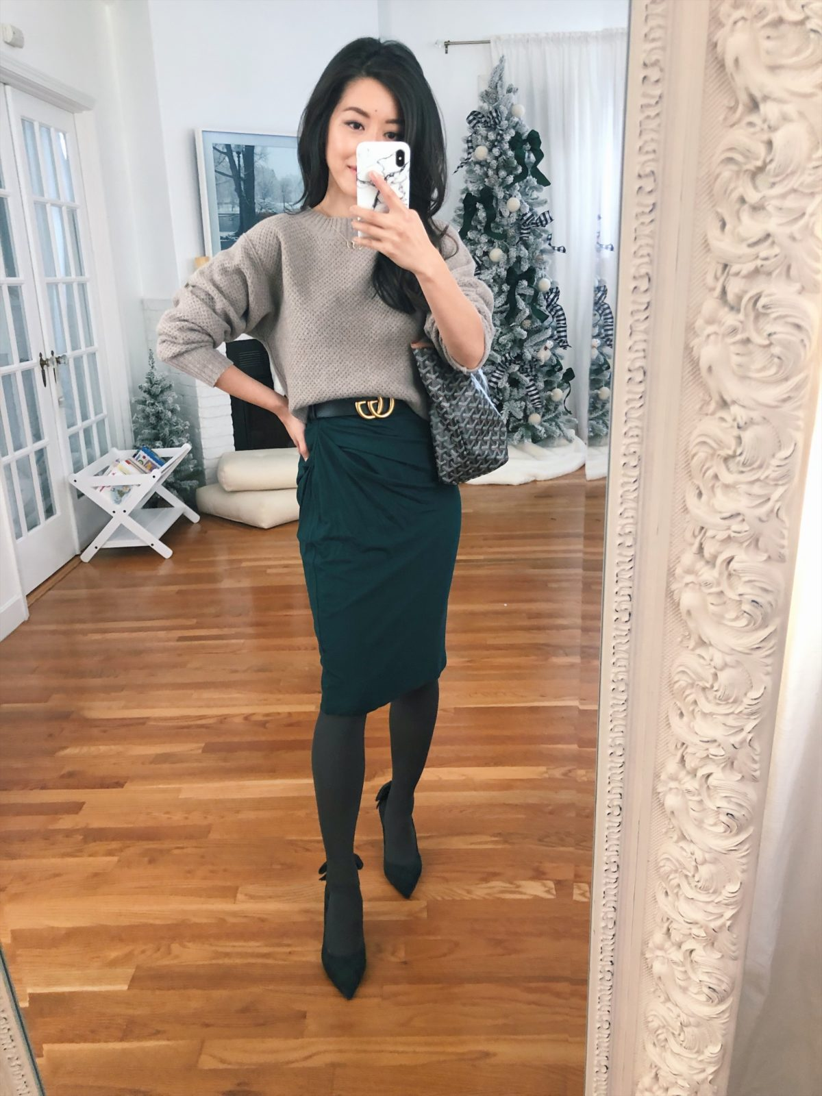 mm lafleur petite work outfit with grey tights