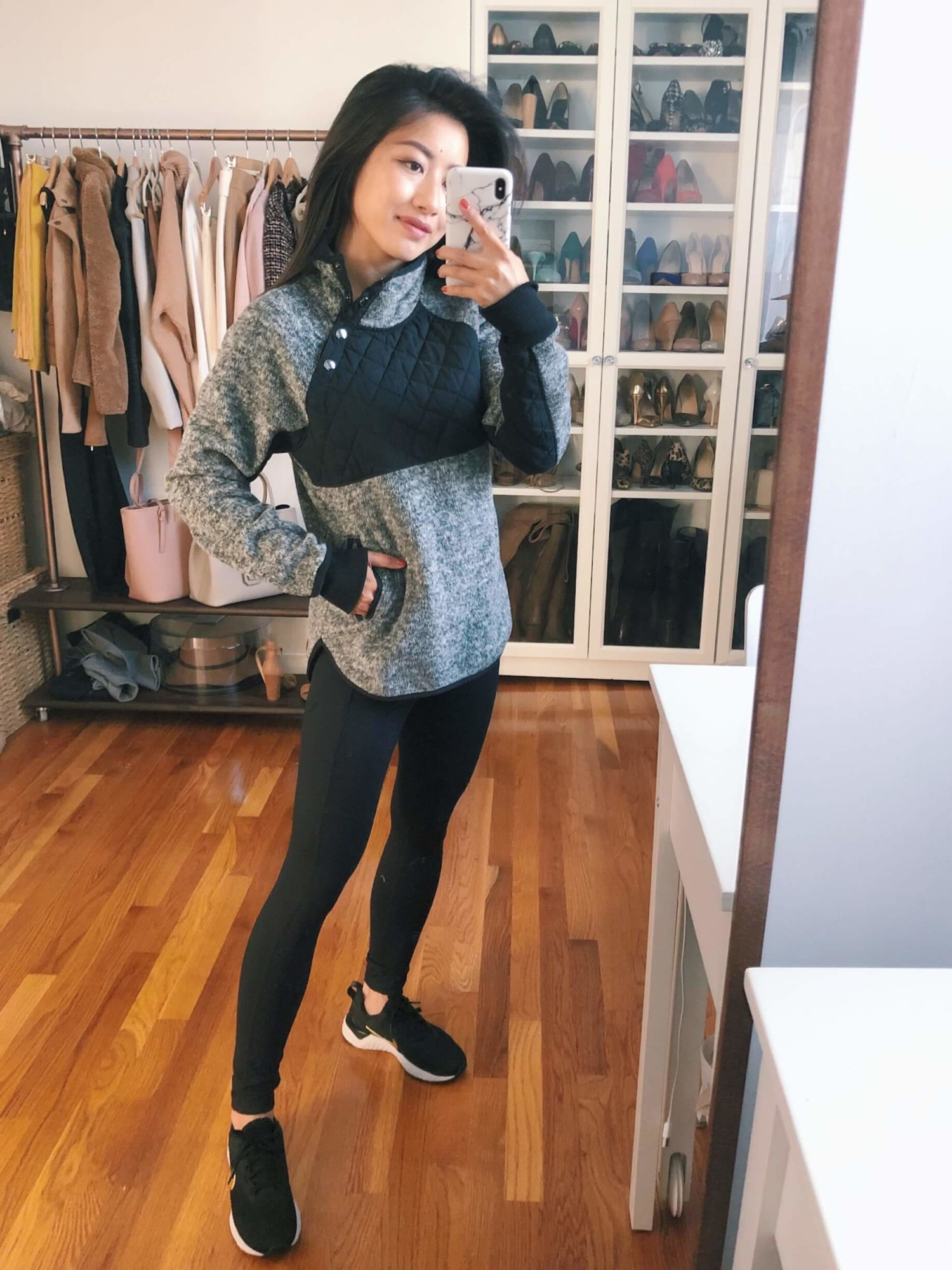 athleisure outfit a&f pullover, zella leggings and nikes