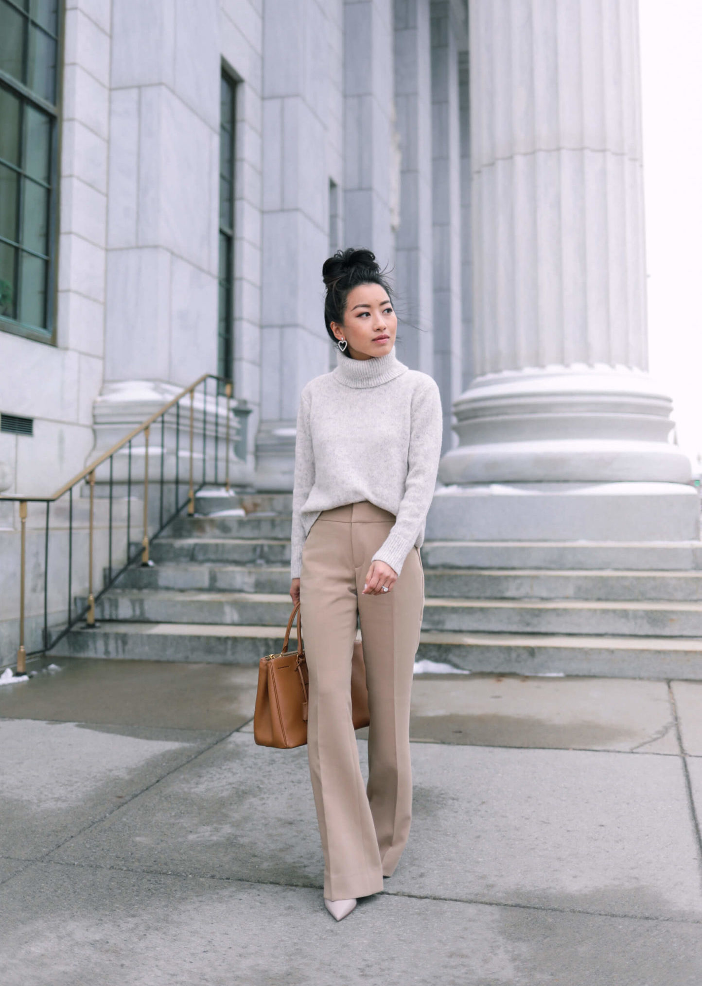 Timeless tan trousers + crossover drape top