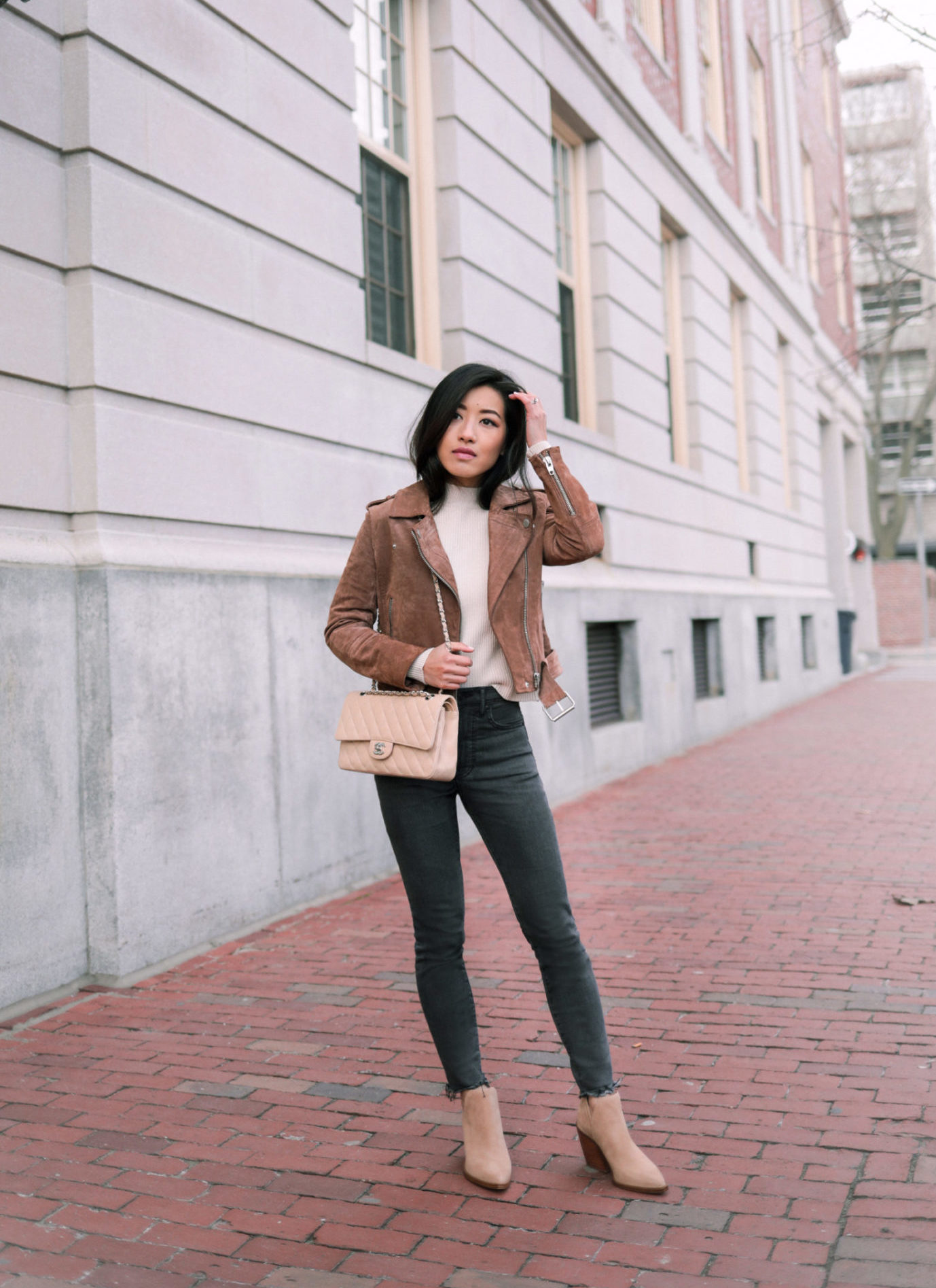 blank nyc suede moto jacket petite winter outfit