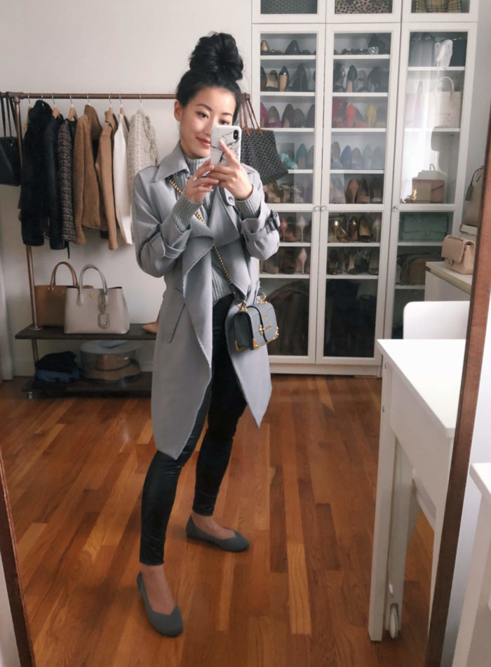 Chicwish trench and Rothy's outfit