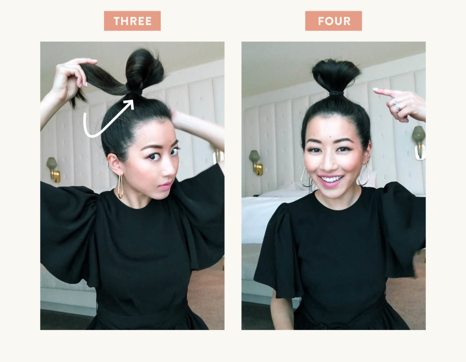 step by step tutorial for messy top knot