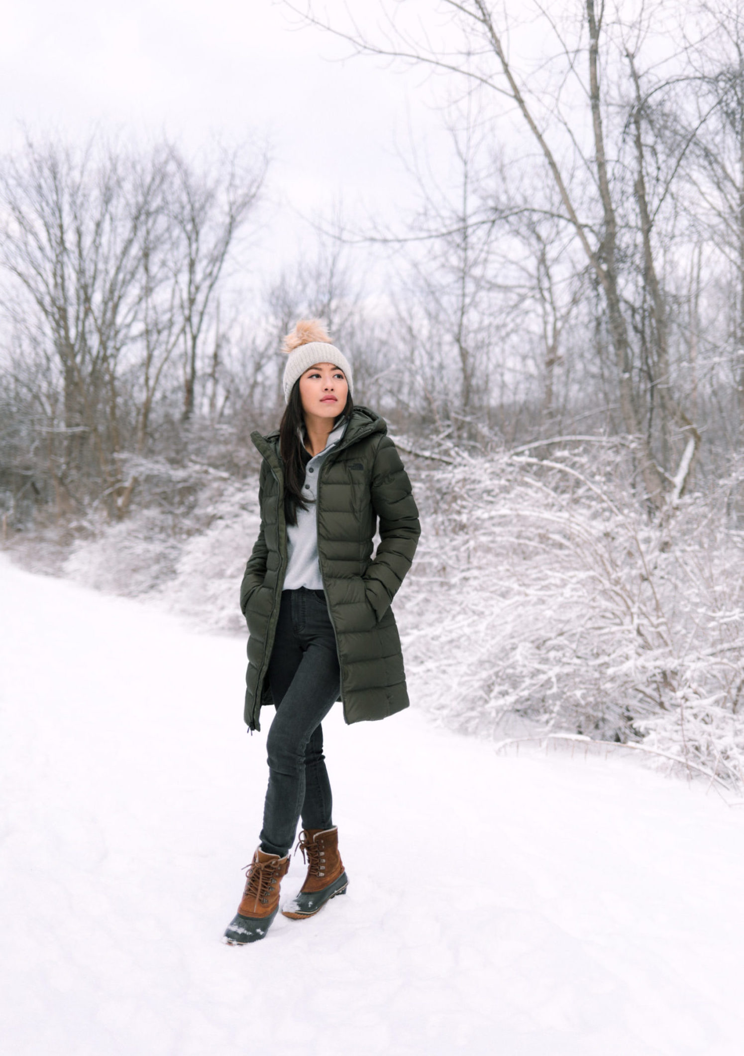 winter puffer coat and snow boots petite outfit
