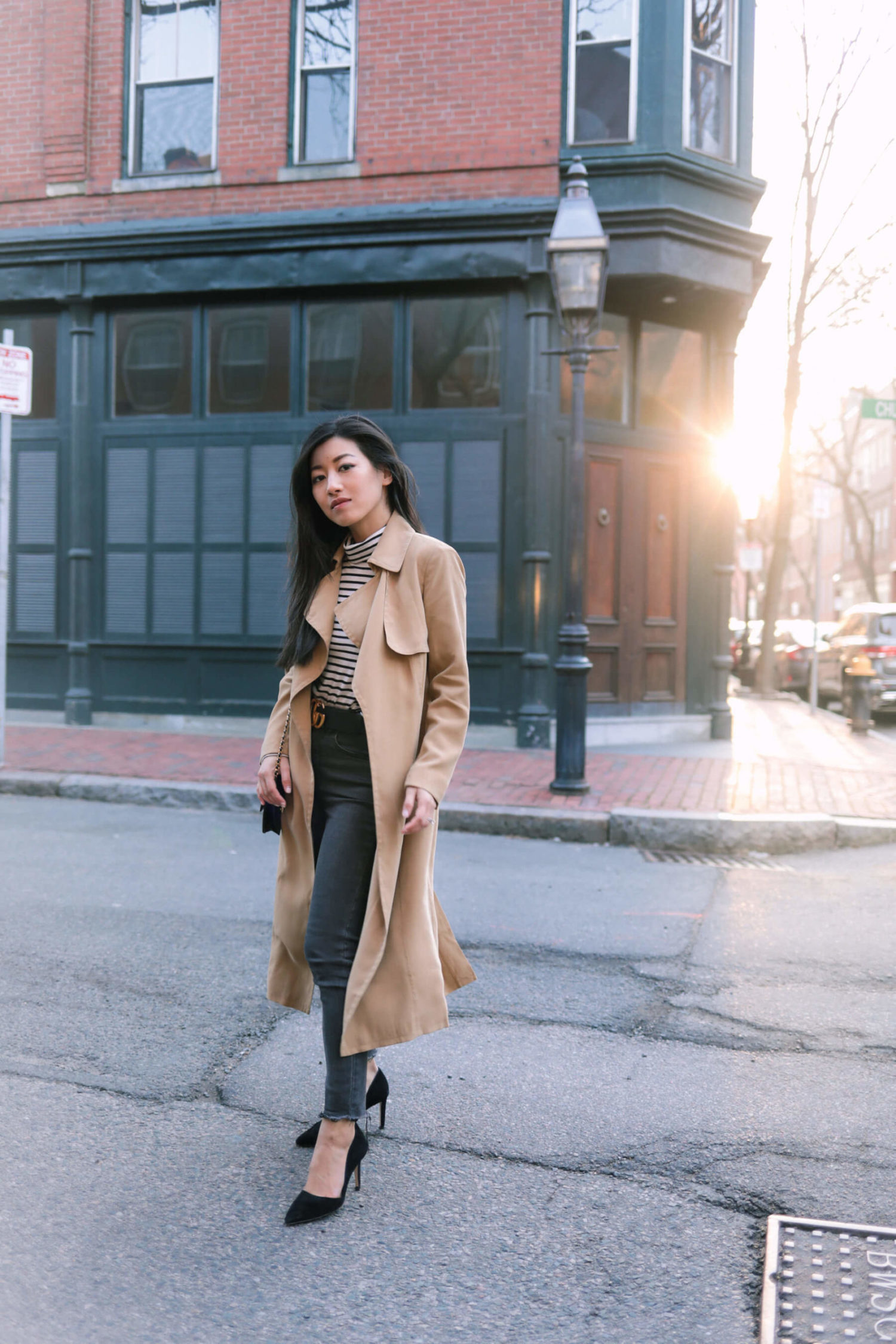 petite trench coat try-on and review