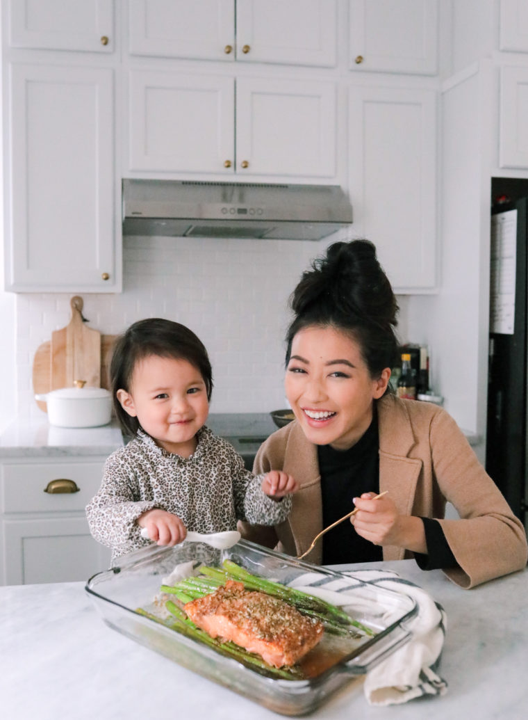 mother daughter cooking easy baked salmon dinner idea
