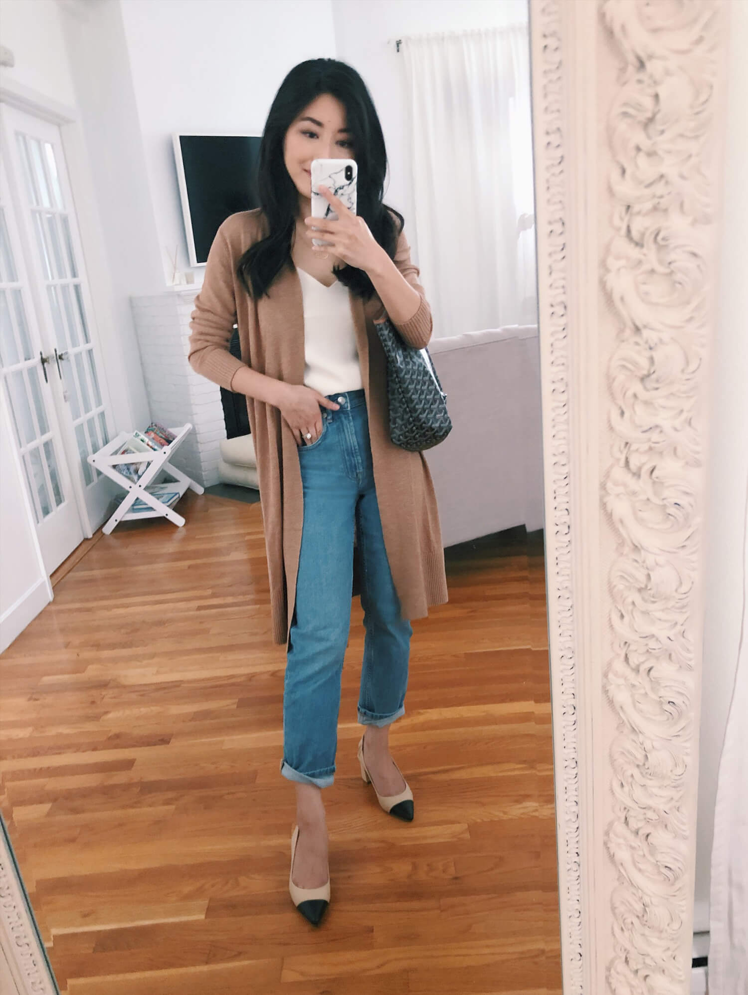 BR petite duster cardigan outfit