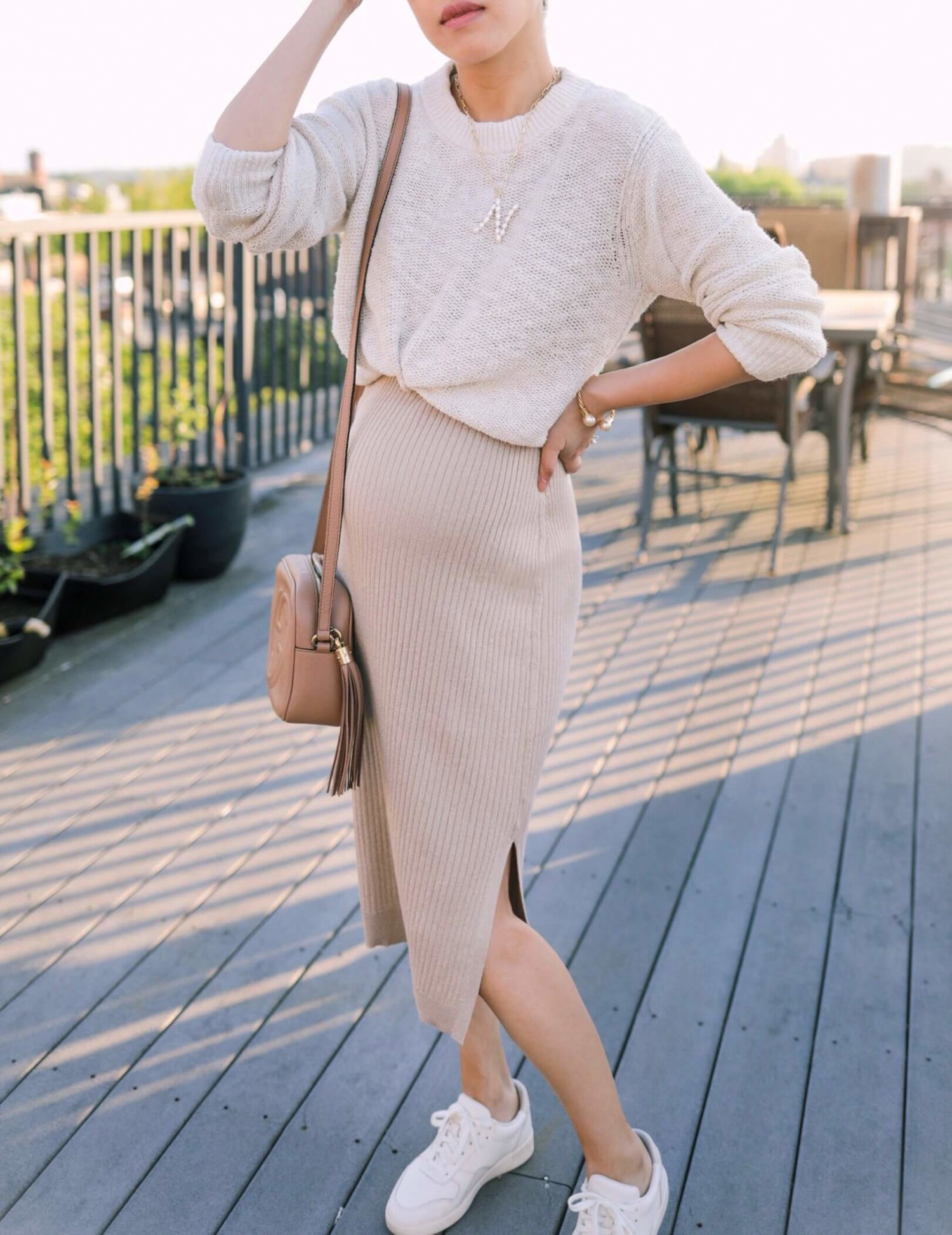 petite and maternity friendly sweater dress summer outfit