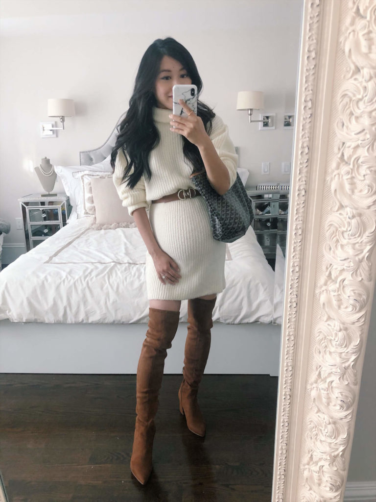 petite chunky knit sweater dress over the knee OTK boots nordstrom sale