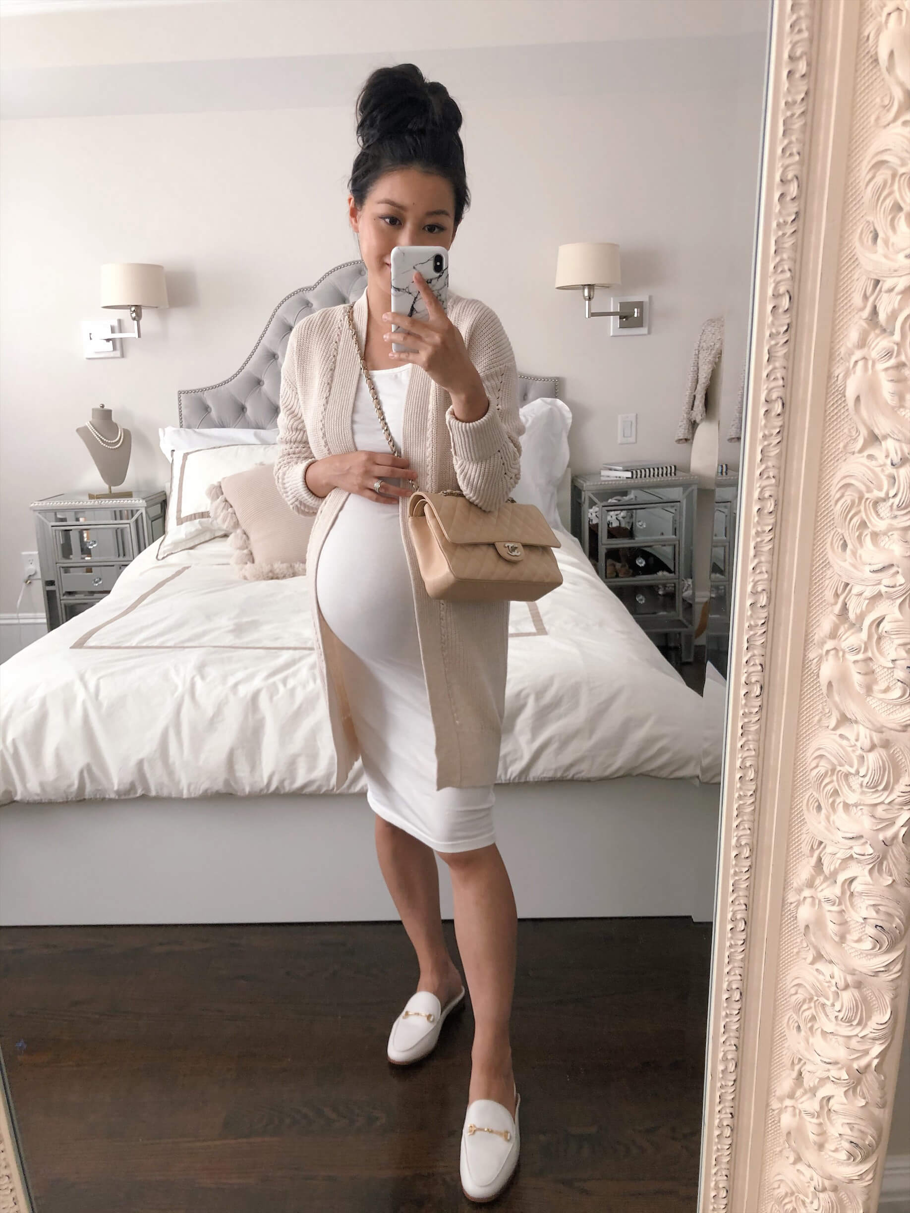 petite third trimester maternity white dress cardigan outfit