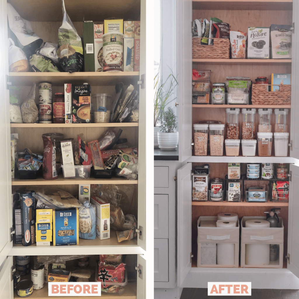 Kitchen Pantry Organization Before and After