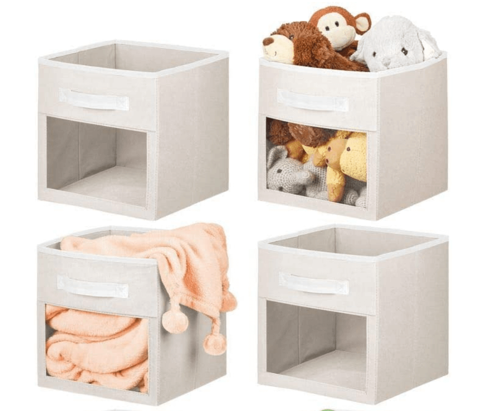 soft fabric storage cubes with clear window