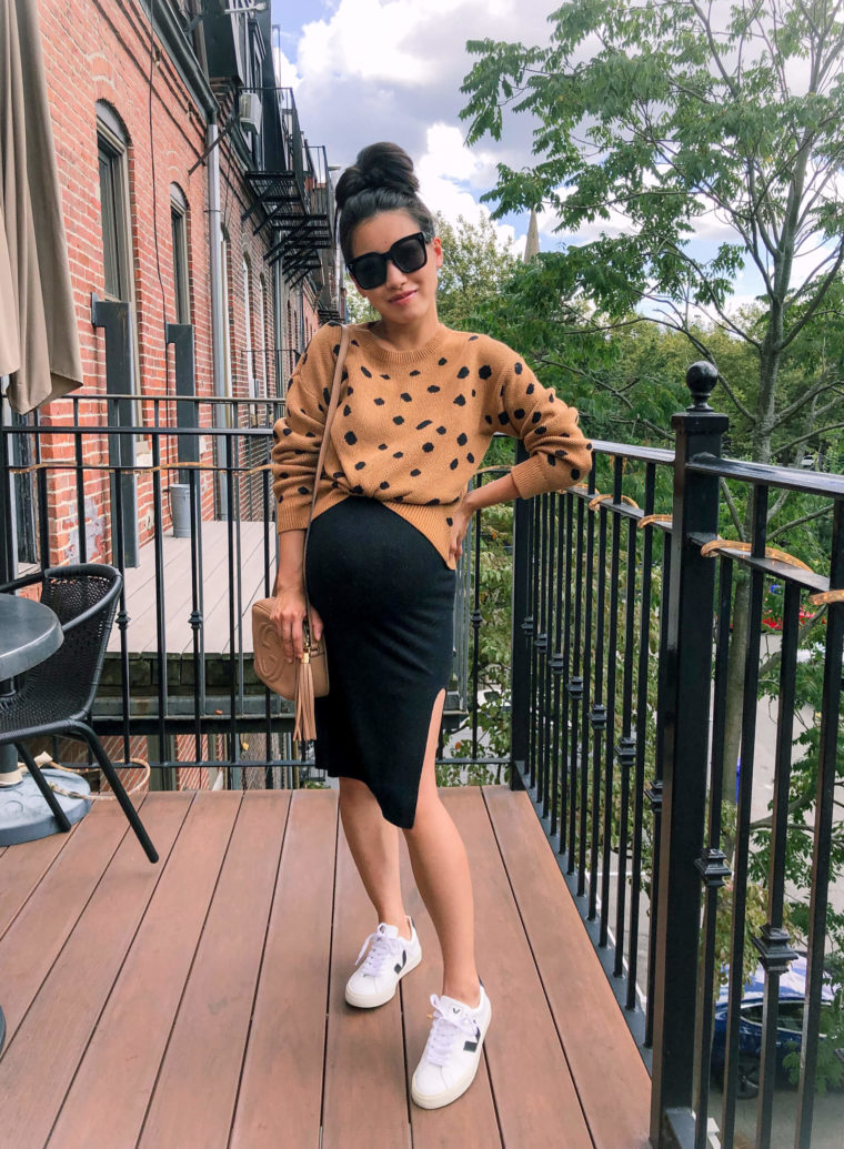 leopard sweater fall petite maternity outfit ideas