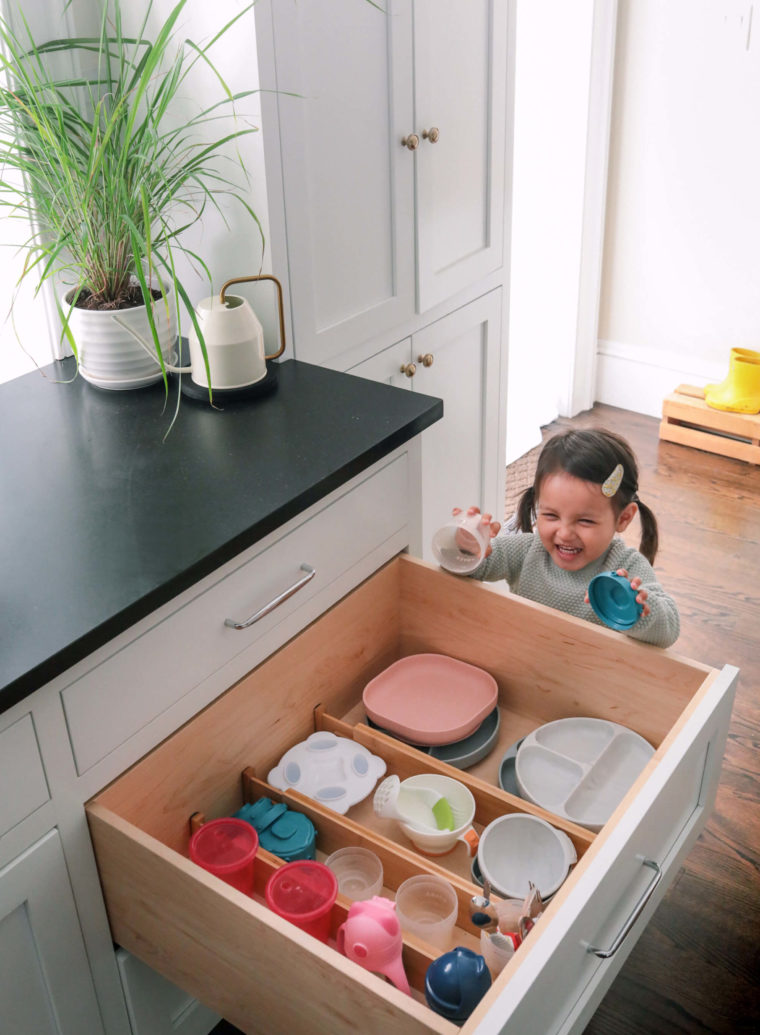 kitchen organization tips drawer divider toddler dishes