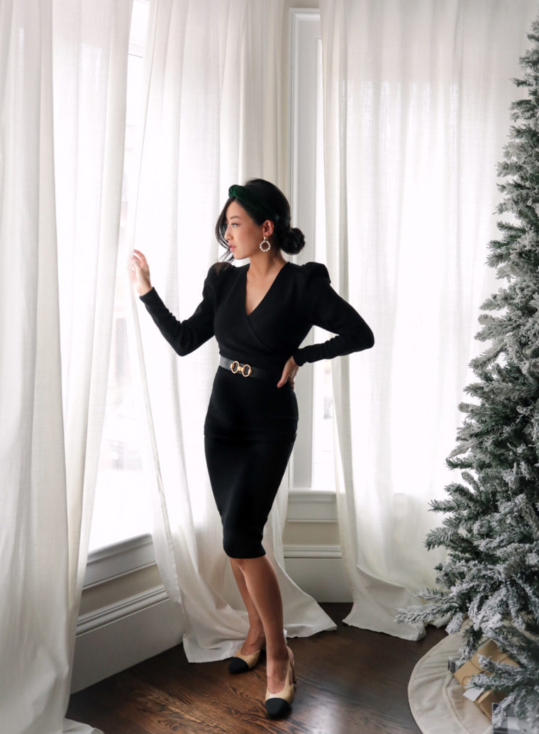 little black sweater dress holiday photos 2020
