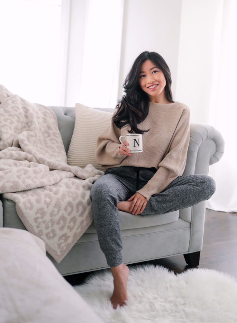 cozy petite athleisure joggers outfit