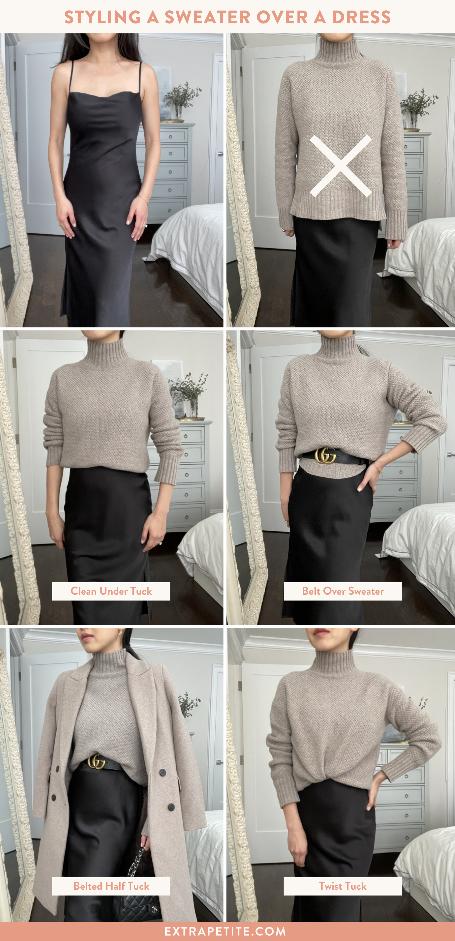 how to style a sweater with a dress belt or tuck
