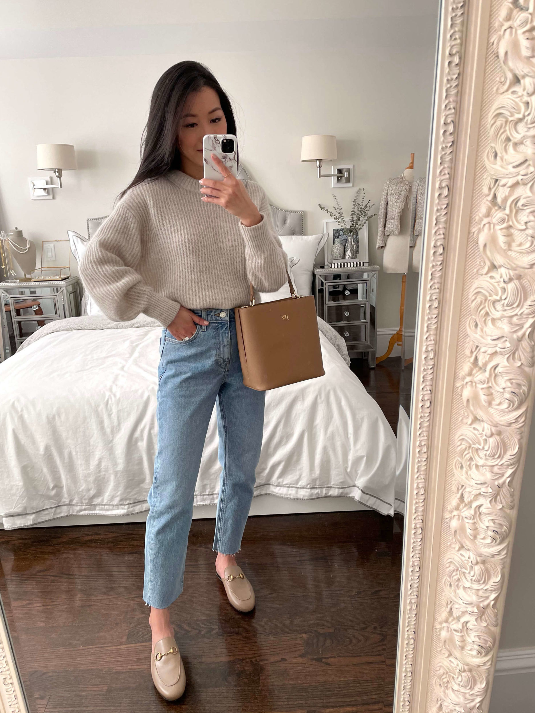 Gucci loafer mud everlane alpaca sweater petite spring outfit