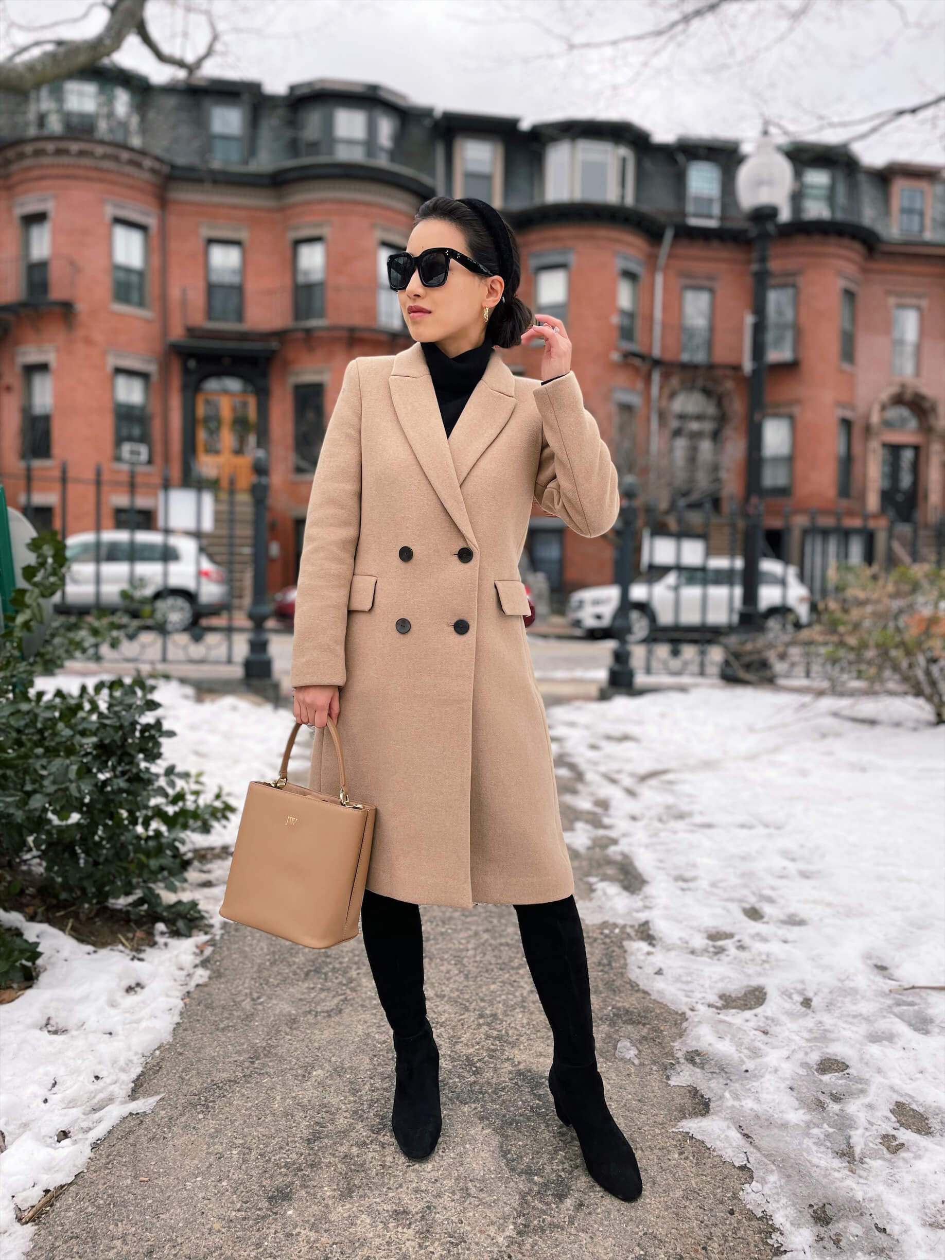 double breasted camel wool coat