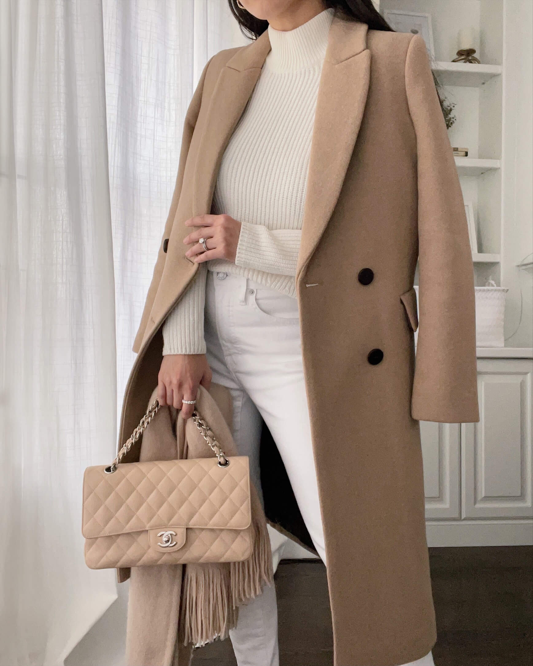winter camel coat outfit