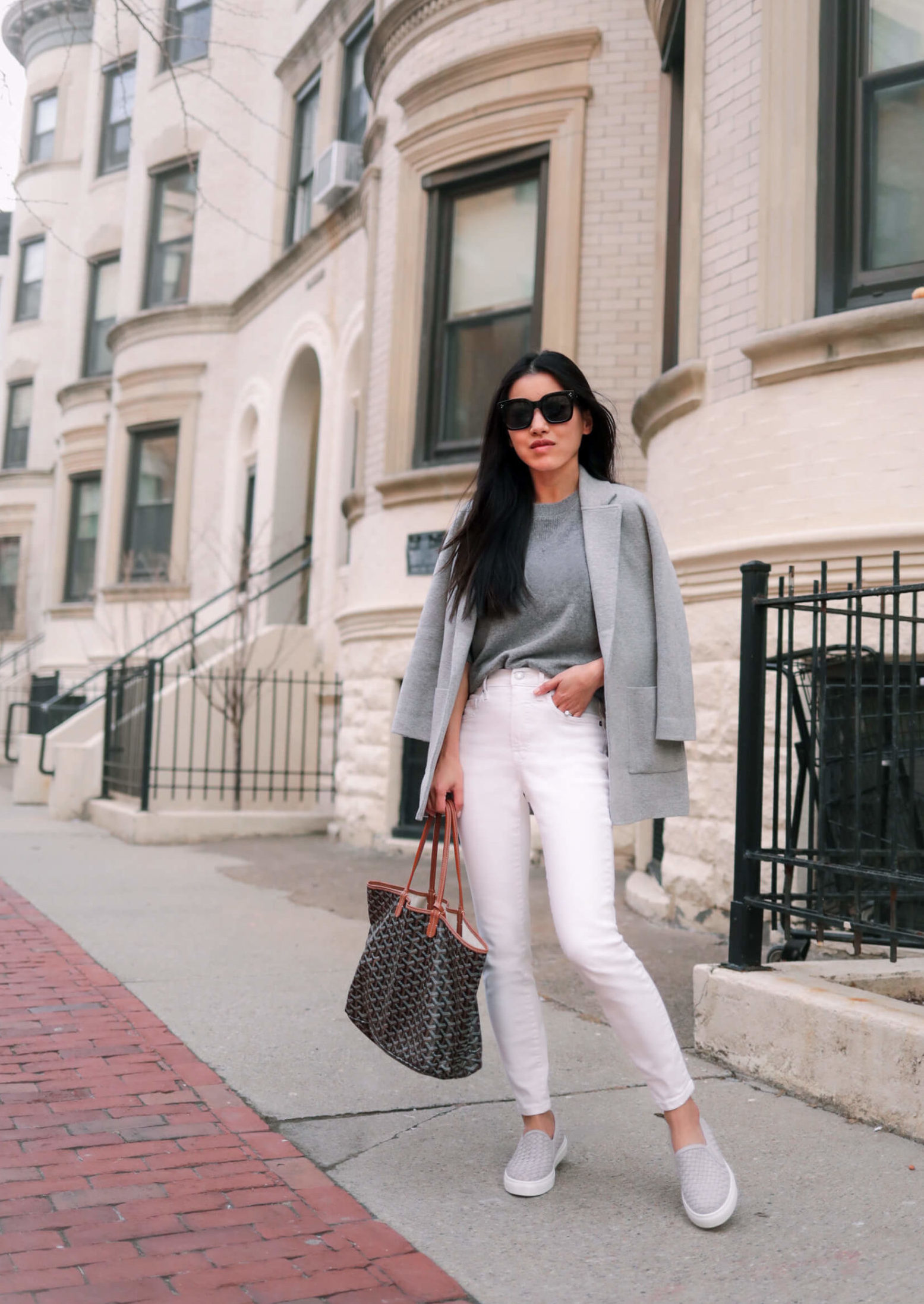 jcrew sophie cardigan petite white jeans styling outfit idea