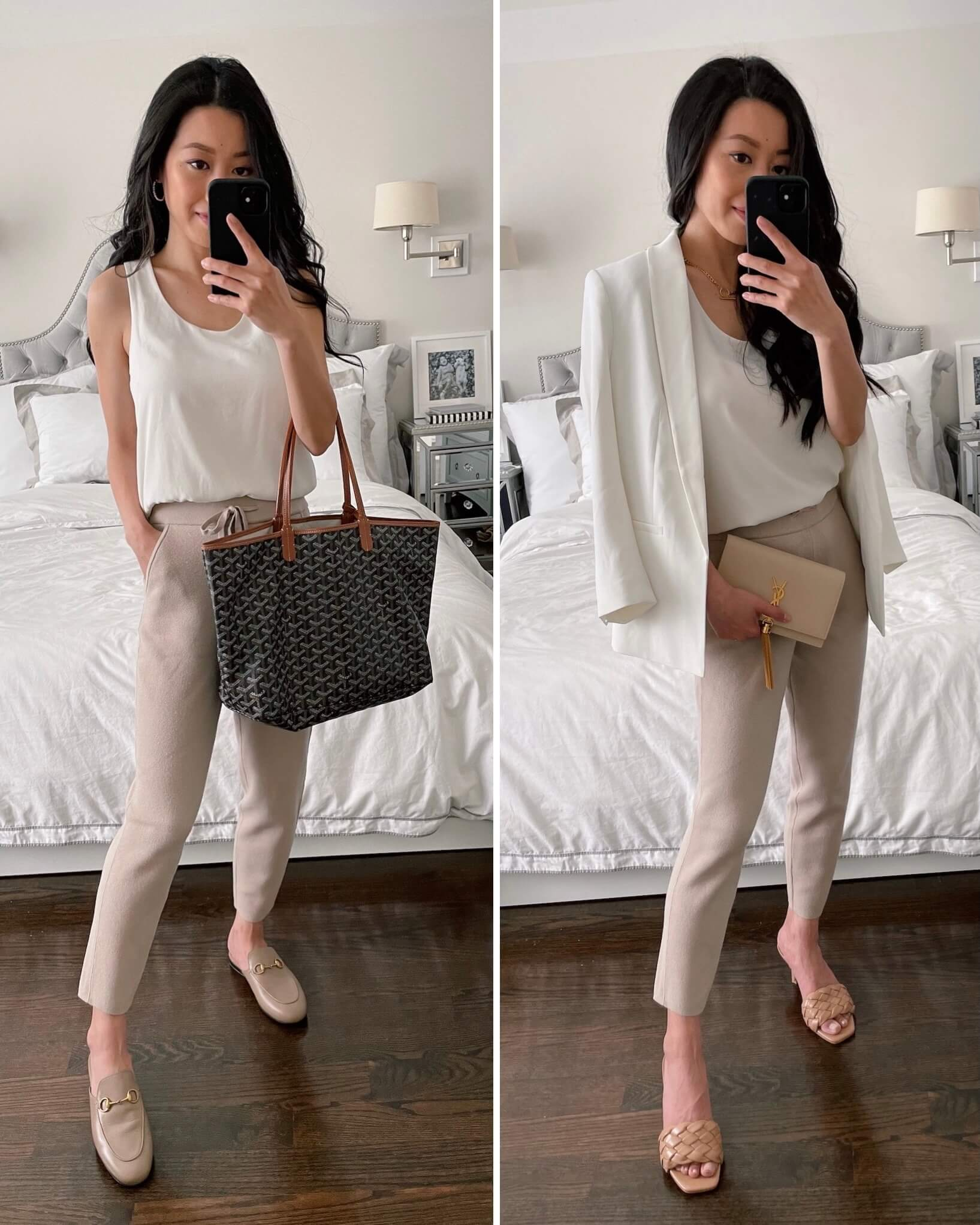 taupe and white spring outfits