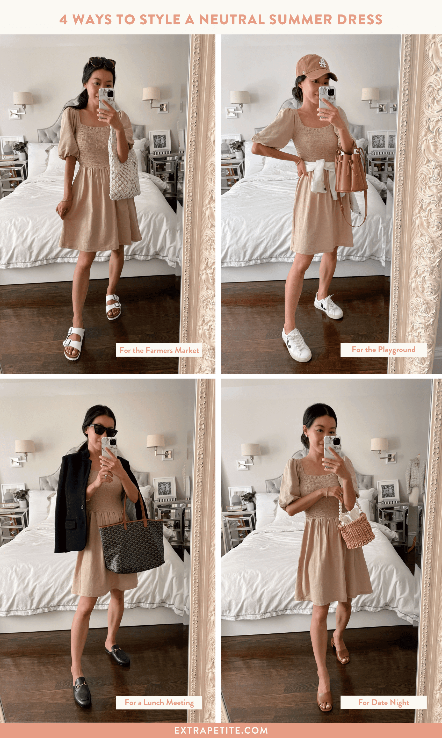 4 ways to style a neutral summer dress