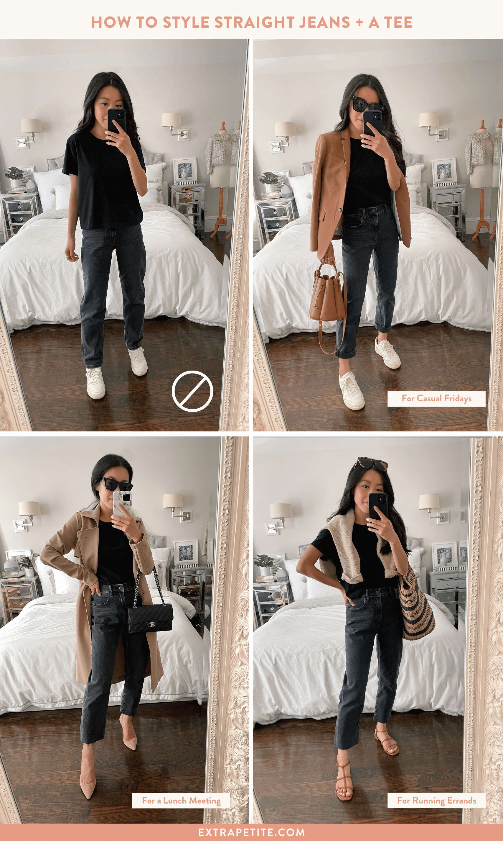 how to style straight leg jeans petite outfits