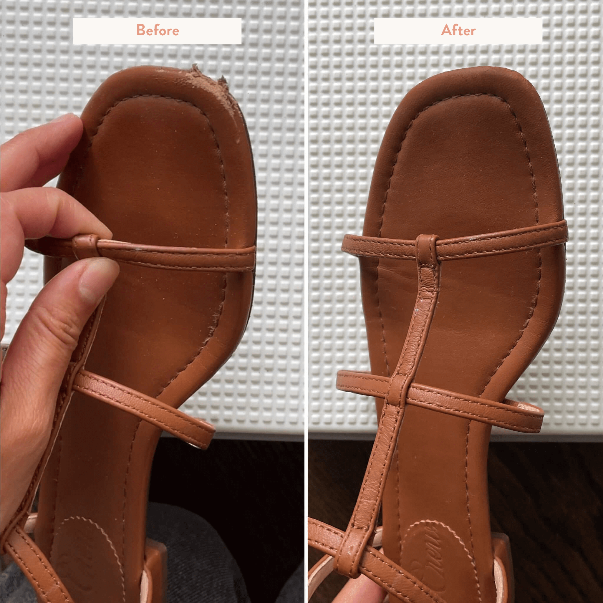 before and after leather sandal repair