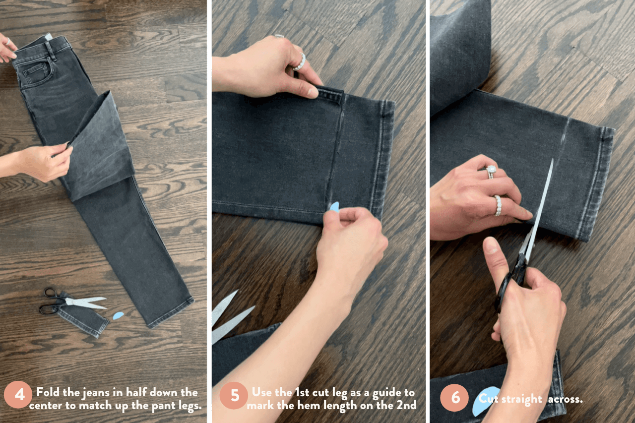 cutting ankle length jeans