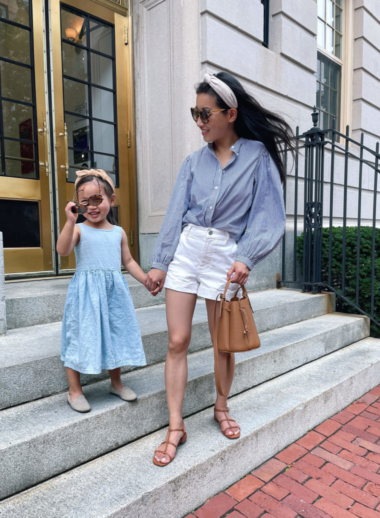 mommy and me blue white outfits summer boston