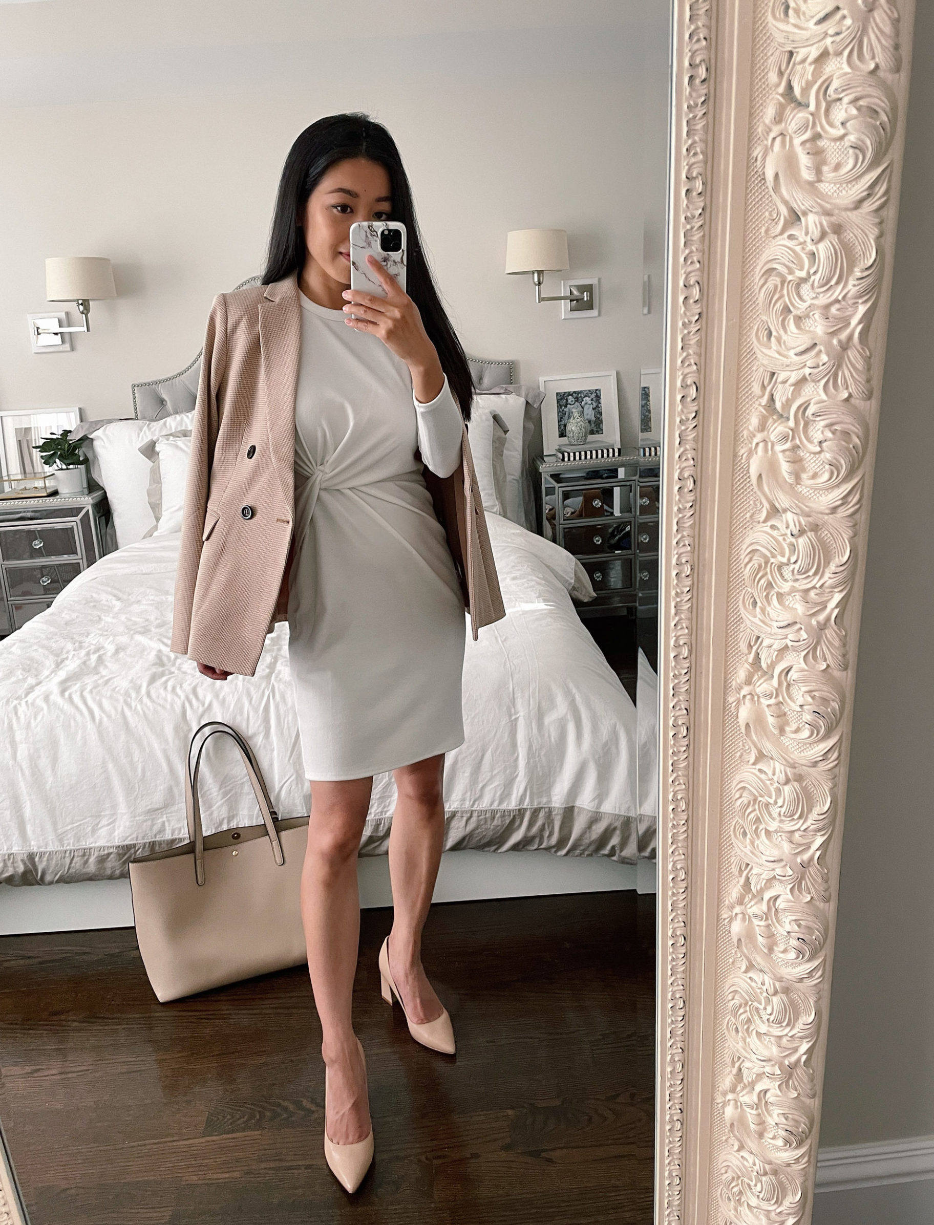 how to style a white dress for fall work office