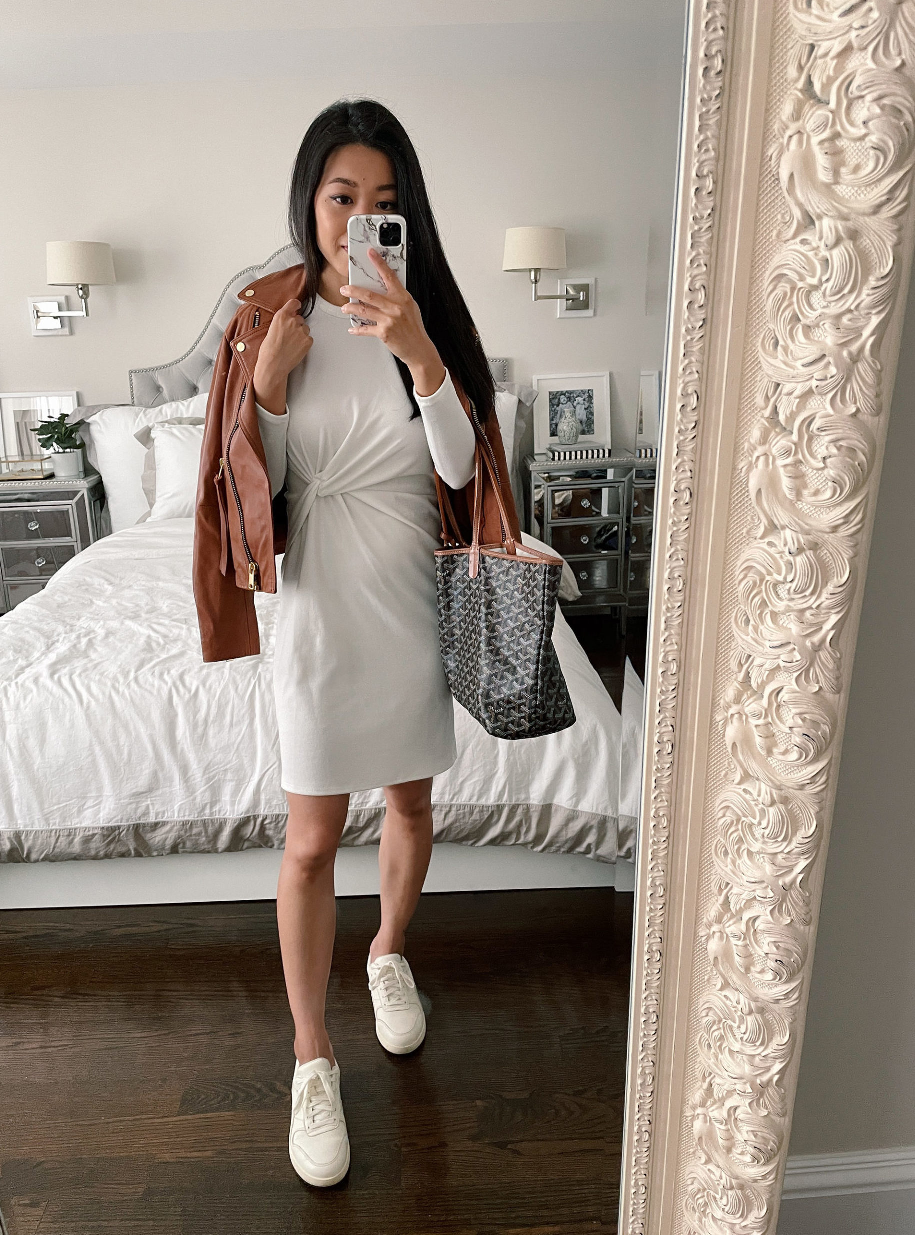how to style a white tee shirt dress with sneakers petite