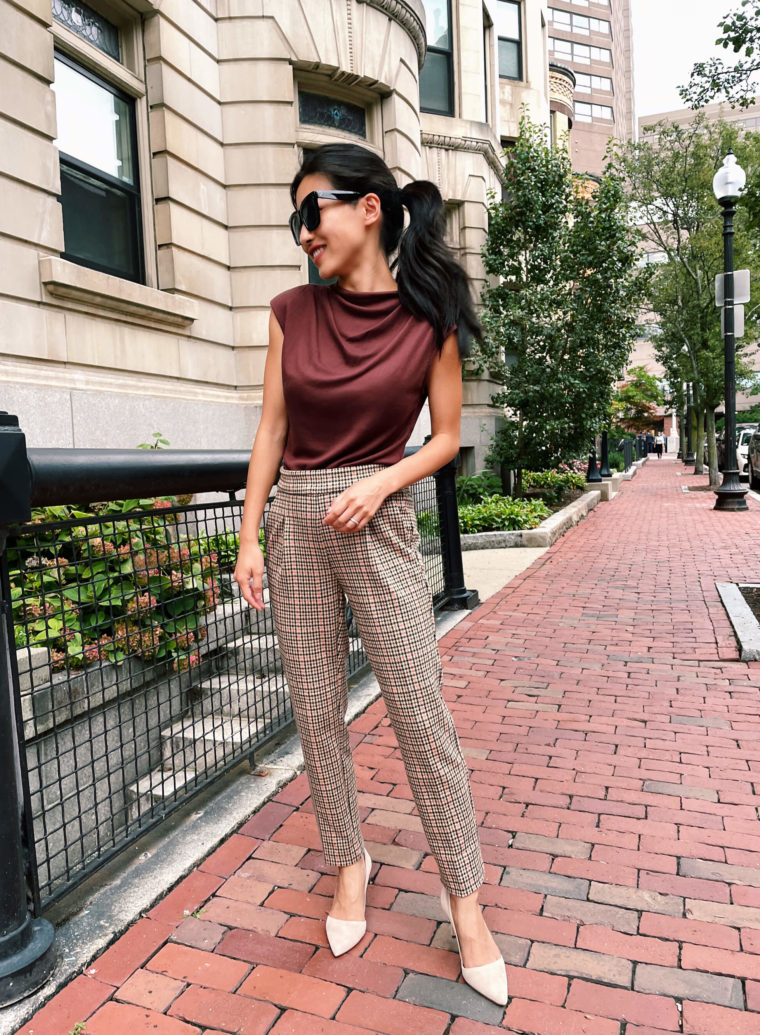 ann taylor fall work outfit petite plaid pants