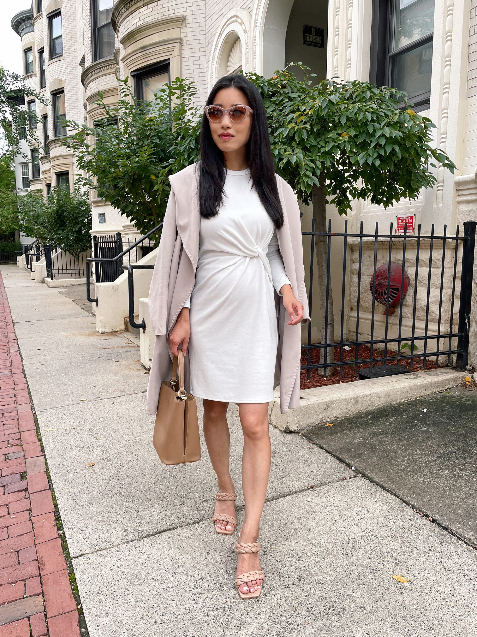 how to style a white dress for fall petite fashion